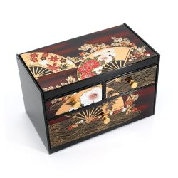 Japanese black resin storage box with mirror and drawers with fans and flowers pattern, MAIOHGI, 18.5x11.5x11.8cm