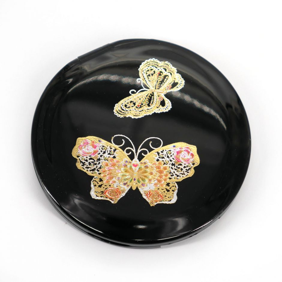Japanese black round resin pocket mirror with butterfly motif, CHO, 7cm