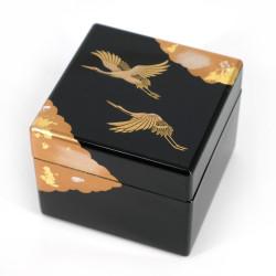 Japanese black resin storage box with Japanese crane pattern, SHOKAKU, 8x8x6.5cm