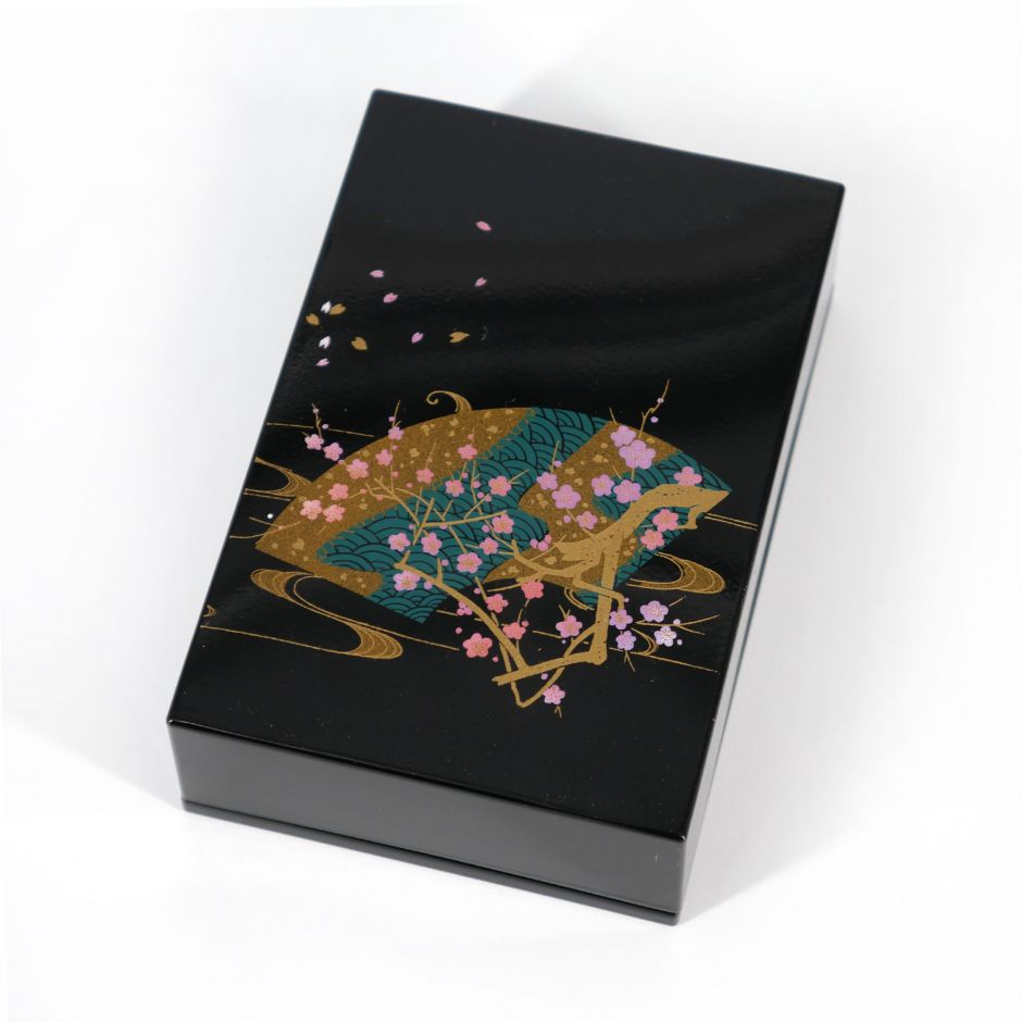 Japanese black resin storage box in resin with wave fan and cherry branch, HANAOHGI, 11x7.5x3.3cm