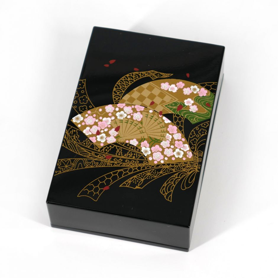 Japanese black resin storage box with fan pattern and ribbons, MUSUBISENMEN, 11x7.5x3.3cm