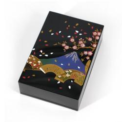 Japanese black resin storage box in resin fan pattern Mount Fuji and cherry, SENMENFUJI, 11x7.5x3cm