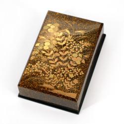 Japanese black resin storage box with golden flowers pattern, KINAKIKUSA, 9.5x8x2.8cm