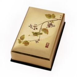 Japanese golden resin storage box with sparrow motif, HAOTOMUSUBI, 11.5x7.5x3.6cm