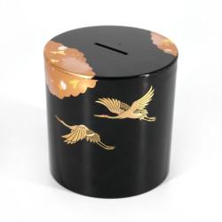 Japanese black money box in resin with Japanese cranes pattern, SHOKAKU, 9x9.2cm