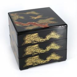 Japanese black jyubako lunch box with pine and crane pattern, SHOKAKU, 20x20x16cm