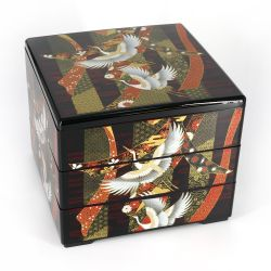 Japanese black jyubako lunch box with crane and ribbons pattern, NOSHITSURU, 20x20x16cm