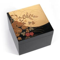 Japanese black and gold storage box in flower pattern resin, HANANO, 10x10x7cm
