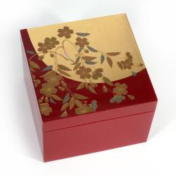 Japanese red and gold storage box in cherry pattern resin, SAKURA, 10x10x7cm