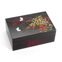 Japanese black resin storage box with butterfly motif, MIYABINO, 13.4x8.9x5.2cm