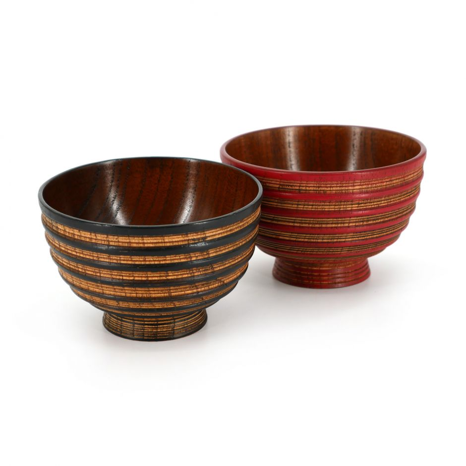 Japanese black and red wooden bowl duo, OYAKOSUJI, 10.8x7.2cm