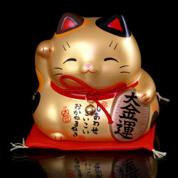 Manekineko Cat Piggy Bank, DAIKINUN, golden