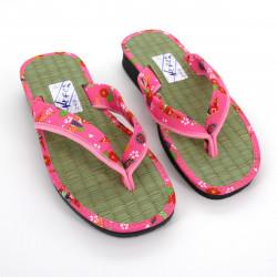 pair of Japanese zori sandals for women, GOZA 2530C, pink