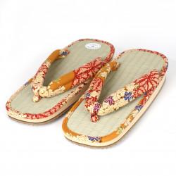 pair of Japanese sandals - Zori straw goza, NAOMI, yellow