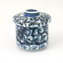 blue japanese tea bowl with lid - chawanmushi - UZUZMAKI