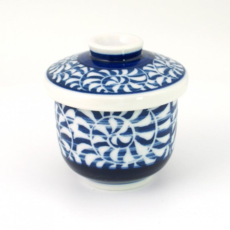 blue tea cup with lid ceramic 1113234