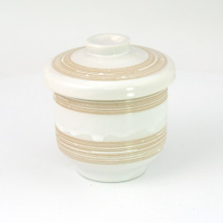 beige japanese tea bowl with lid - chawanmushi - UZU