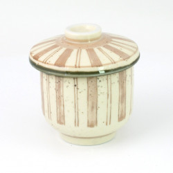 beige japanese tea bowl with lid - chawanmushi - BEJI