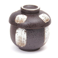 tasse noire à thé avec couvercle en céramique 10718