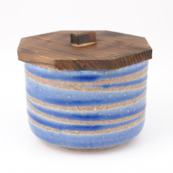 bol japonais en céramique avec couvercle en bois