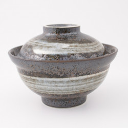 Tazón de cerámica japonés con tapa, BURASHI, gris