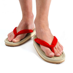 pair of Japanese zori sandals, ZORI F, red