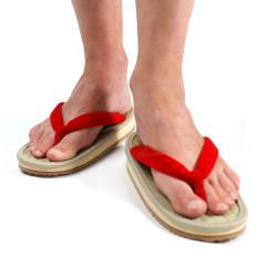 paire de sandales japonaises zori, ZORI F, rouge