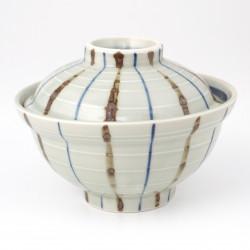 Ciotola in ceramica giapponese con coperchio, RAIN, grigio
