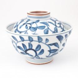 Ciotola in ceramica giapponese con coperchio, TAKO KARAKUSHA, blu e bianco