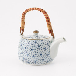 Japanese teapot with bamboo handle, KAZE, blue and white