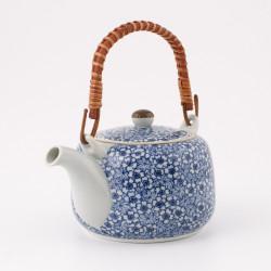 Japanese teapot with bamboo handle, SAKURA MOMIJI, blue and white
