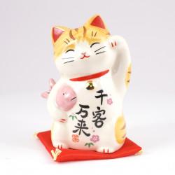 chat porte-bonheur japonais Manekineko en céramique 7742