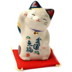 chat porte-bonheur japonais Manekineko en céramique 7743