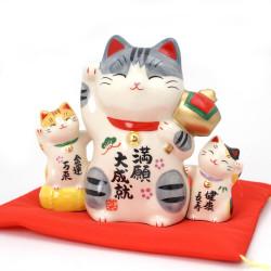 Chat porte-bonheur japonais Manekineko en céramique, KAZOKU