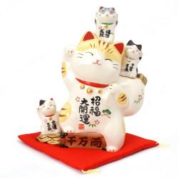 chat porte-bonheur japonais Manekineko en céramique, PIRAMIDDO