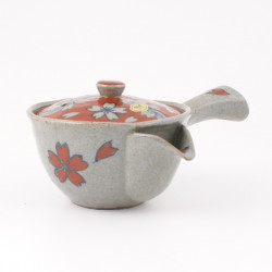 Japanese ceramic teapot, SAKURA, red