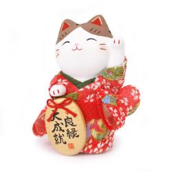 Japanese red lucky manekineko cat, KIMONO RYOEN, left paw