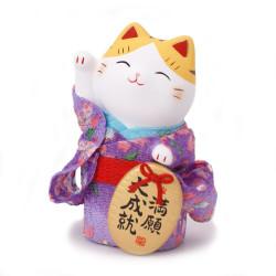 Chat porte-bonheur japonais Manekineko, KIMONO MANGAN