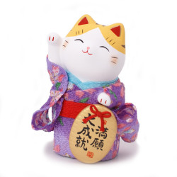 Japanese purple lucky manekineko cat, KIMONO MANGAN, right paw
