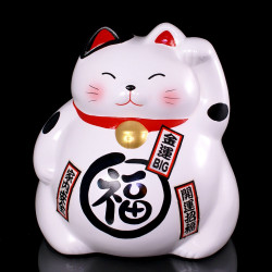 Japanese big lucky paw left cat Piggy Bank, MANEKINEKO MYAKO, white