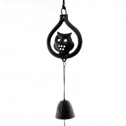 Japan cast iron wind bell, FUKURO, owl