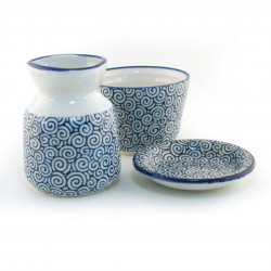 japanese saucier set for soba noodles, UZUMAKI, blue