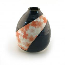 vase japonais soliflore bleu fleurs cerisier NAMAKO SAKURA ICHIRINSASHI