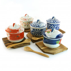 set of 5 japanese tea bowls with lid - chawanmushi -