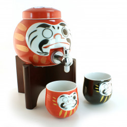 Sake jar and 2 cups, DARUMA, red