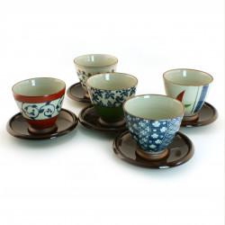 set de 5 tasses japonaises avec soucoupes 16M1613041