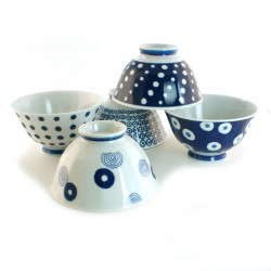 set of 5 Japanese bowls collection INDIGO, white and blue
