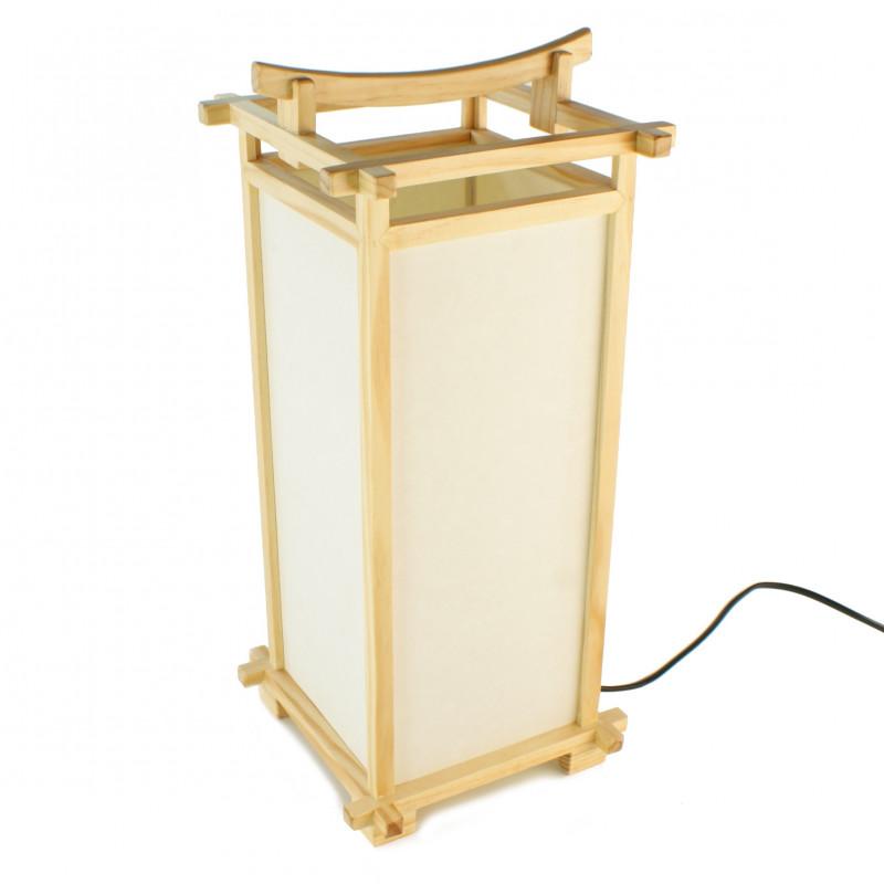Lampe japonaise couleur naturelle bois et papier L216C