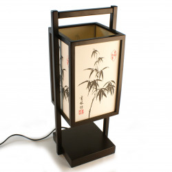 Table lamp black Japanese SHOJI - Bamboo