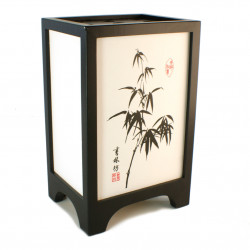 Japanese table lamp black FUKU - Bamboo
